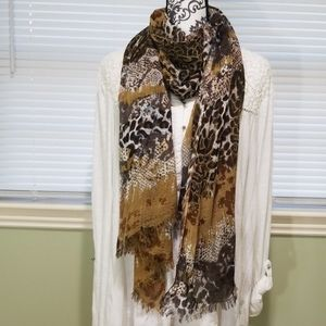 Accessories - Animal Print Scarf - Lightweight Cotton Polyester